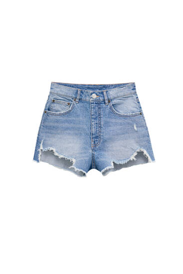 High-waist denim shorts with ripped detailing - ecologically grown cotton (at least 50%)