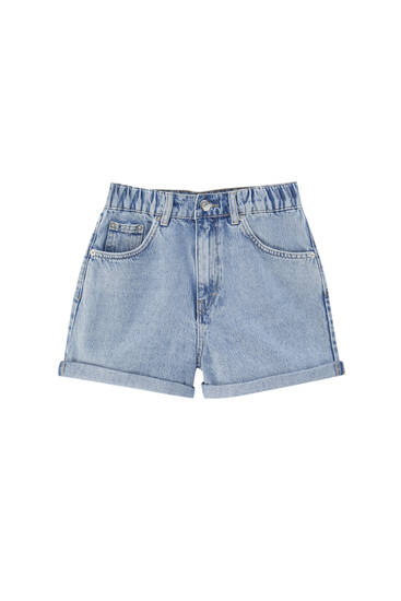 Mom denim shorts with elastic waistband - contains recycled cotton