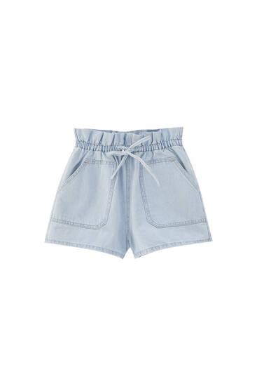 Paperbag denim shorts with drawstring