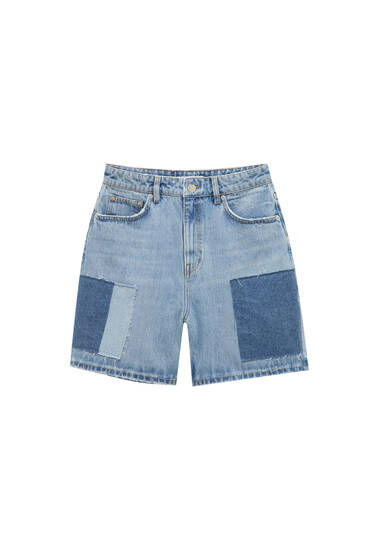 Denim shorts with patchwork - Contains recycled cotton
