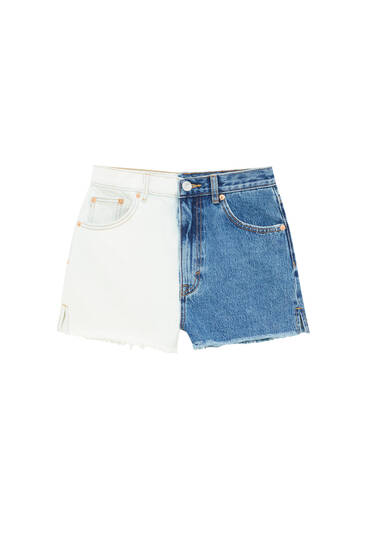 Colour block denim shorts - Ecologically grown cotton (at least 50%)