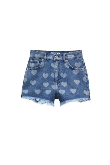 Denim shorts with hearts