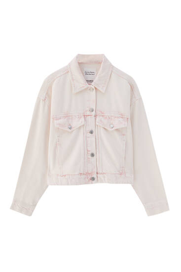 Denim jacket with pink detail and pockets
