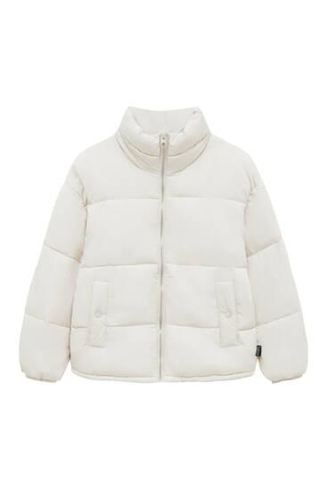 Basic high-collared puffer jacket