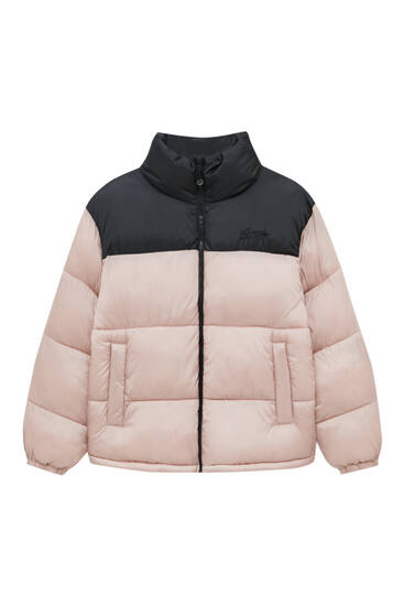 Puffer jacket with contrast shoulders