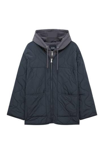 Стеганая куртка со съемным капюшоном