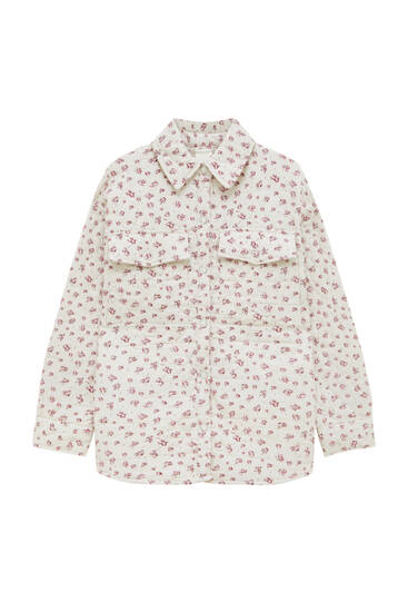 Quilted floral overshirt