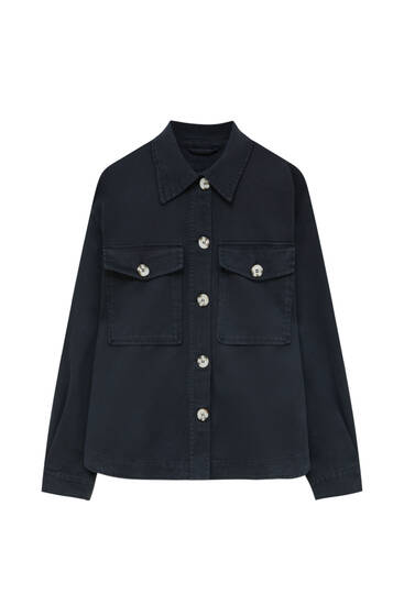 Short overshirt with pockets