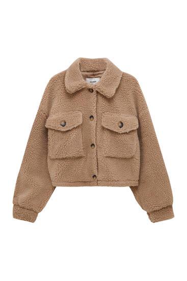 Куртка зі штучної овчини з контрастними ґудзиками