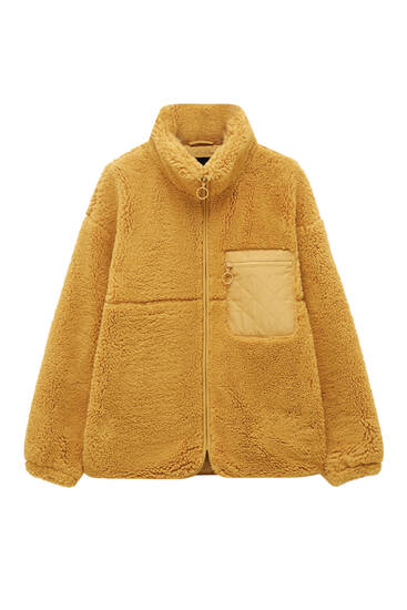 Coloured faux shearling jacket