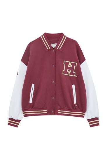 Harvard logo varsity bomber jacket