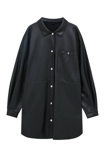 Black lightweight faux leather overshirt