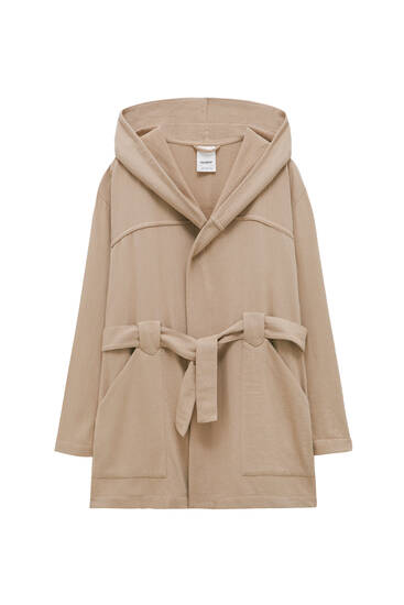 Rustic hooded trench coat