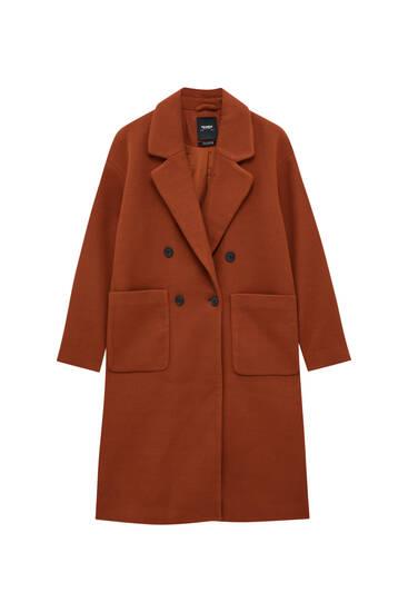 Трикотажное пальто с накладными карманами