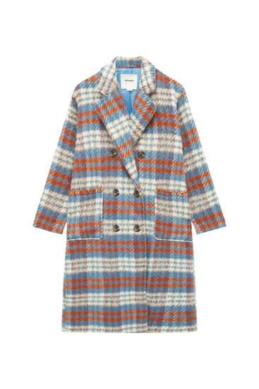 Длинная куртка-рубашка в клетку с карманами