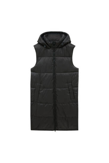 Long quilted gilet with hood