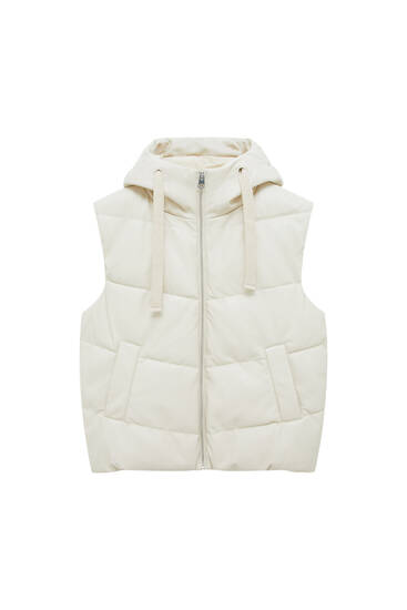 Faux leather hooded puffer gilet