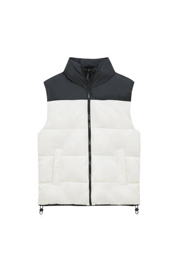 Reversible colour block quilted gilet