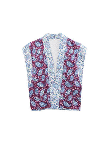 Quilted gilet with paisley print