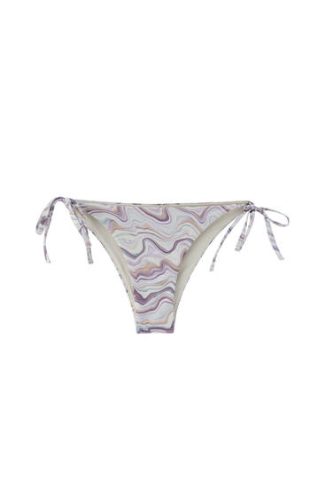 Bikini bottoms with psychedelic wave print - recycled polyester (at least 50%)