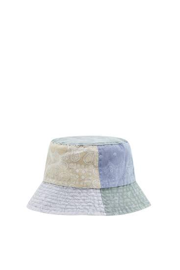 Paisley-print patchwork bucket hat