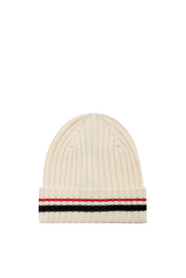 Ribbed knit beanie with stripes