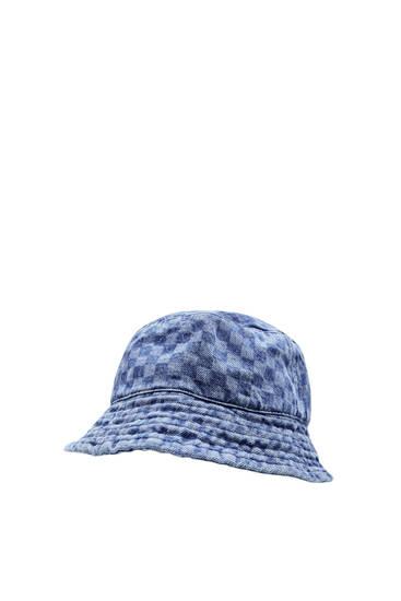Check print denim bucket hat