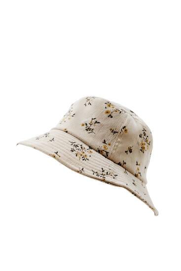 Floral corduroy bucket hat
