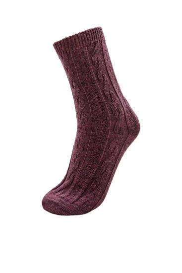 Κάλτσες με χοντρή ύφανση ριμπ
