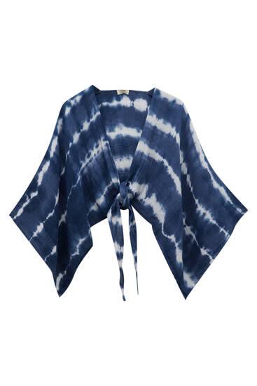 Cropped tie-dye kimono