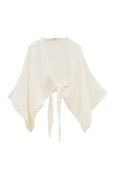 Cropped rustic kimono