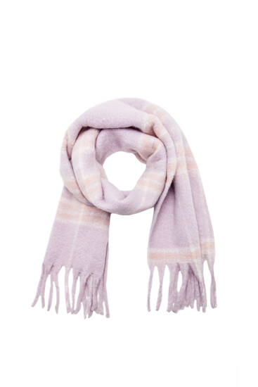 Lilac check knit scarf