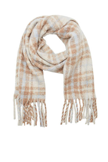 Soft check knit scarf