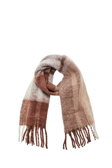 Brown check chunky knit scarf
