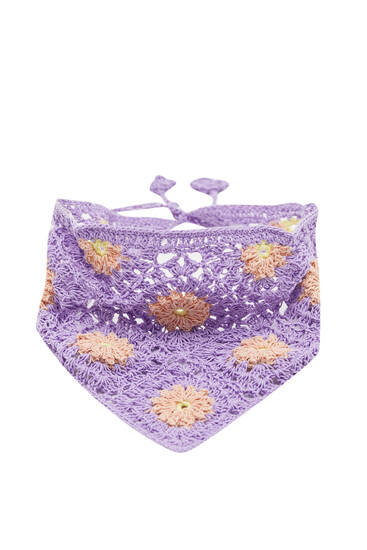 Floral print crochet scarf