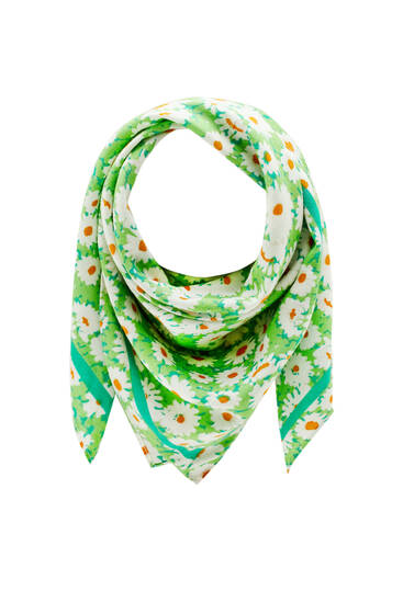 Зеленый платок с принтом «Ромашки»