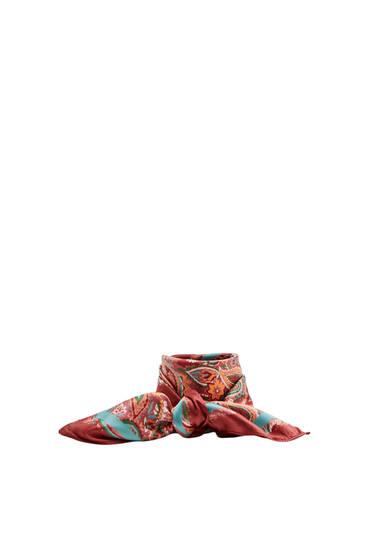 Multicoloured paisley print scarf