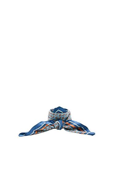 Blauwe sjaal met bloemenprint