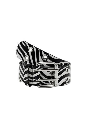Ремень с принтом «зебра»
