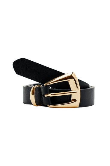 Cowboy geometric buckle belt