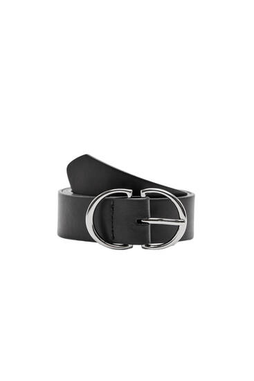 Black belt with a double buckle