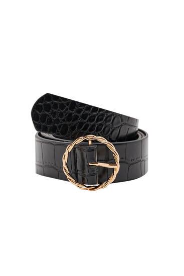 Mock croc golden buckle belt