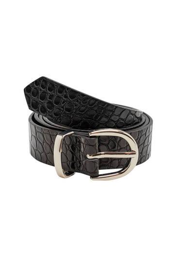 Black mock croc belt with golden buckle