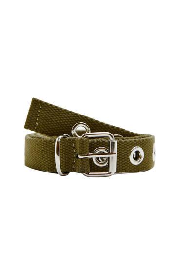 Fabric belt with eyelets