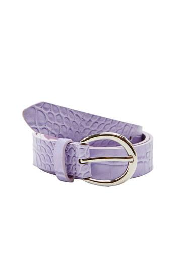 Coloured mock croc belt