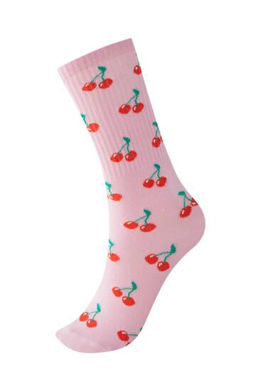 All-over cherry print sports socks