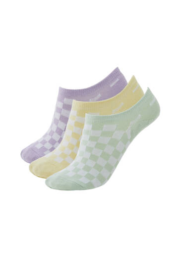 Pack of 3 pairs of chequered socks - Ecologically grown cotton (at least 75%)