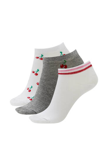 Pack of 3 pairs of ankle socks - ecologically grown cotton (at least 65%)