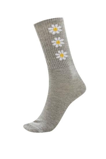 Lange sokker med margueritter – økologisk bomuld (mindst 50 %)