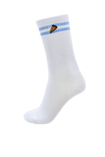 Sports socks with stripes and food detail